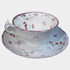 Pretty Pink Luster Cup with Pink Flowers and Luster Leaves