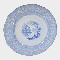 Blue Transferware Staffordshire Plate J&G Alcock Vintage Pattern C.1840