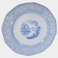Blue Transferware Staffordshire Plate J&G Alcock Vintage C.1840