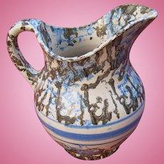 19th Century Blue and Black Spongeware Pitcher