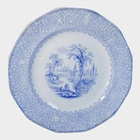Romantic Blue Transferware Plate Lake Scenery
