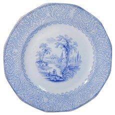 Romantic Blue Transferware Plate Lake Scenery
