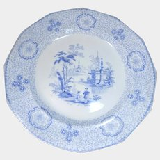 J. Wedgwood Light Blue Transferware Plate Singanese Pattern C.1840