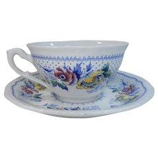 Ridgways Blue Multicolor Lynton Pattern Cup & Saucer