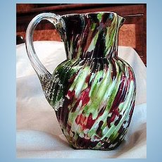 Beautiful Early  American Art Glass Multicolored Pitcher Applied Handle