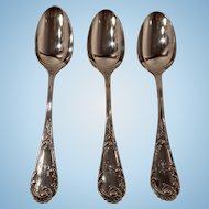 Set of Three Beautiful 19th Century W. Moir Sterling Silver Tablespoons