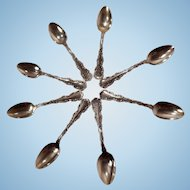 Set of Eight Beautiful 19th Century Whiting Sterling Teaspoons Louis XV Pattern