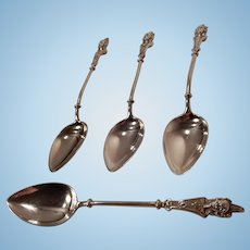 19th Century Victorian 800 Silver Demitasse Spoons Set of Four