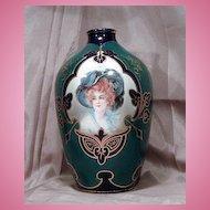 Exquisite Jeweled Toned Emerald Green & Blue Portrait Vase