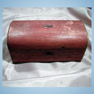 Miniature Domed Wood Tea Caddy.Chest or Trunk With Brass Feet And Silver Trim