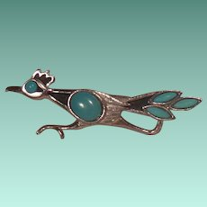 1970's Signed St. Labre Turquoise Colored Stones and Silver Tone Road Runner Pin