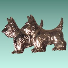 Pair of Vintage Sterling Silver Scotty Dogs Pin