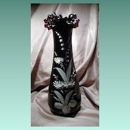 Purple Amethyst Victorian Era Ruffled Edge Hand Painted Vase