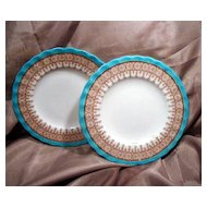 """Two 6"""" Royal Worcester Blue, Gold & White Plates"""