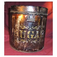 Early Metal Sugar Tin or Canister with Stenciling from Maine Stagecoach Stop