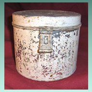 Early Metal Sugar Tin or Canister with White Paint