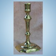 18th Century Queen Anne Brass Candlestick