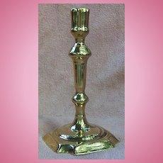 18th Century Queen Anne Brass Candlestick