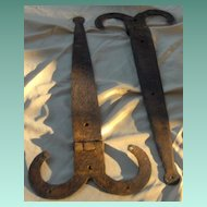 Pair of Early Wrought Iron Rams Horn Design Barn Hinges