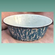 Blue Swirl Granite Ware Bowl or Pudding Pan