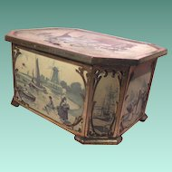 Early English Huntley & Palmers Hinged Biscuit Tin Ice Skaters and Dutch Scenes