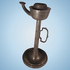 19th Century Pewter Tall Whale Oil Lamp