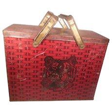 Lorillard Chewing Tobacco Red Tiger Lunch Pail Tin