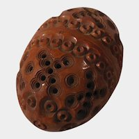 Beautifully Carved Coquilla Nut Egg Shaped Thimble Holder or Sewing Case