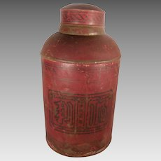 Large 19th Century Red and Black Tea Canister or Tin