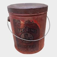 Early Advertising Old Time Coffee Tin or Pail Race Horse Jockey