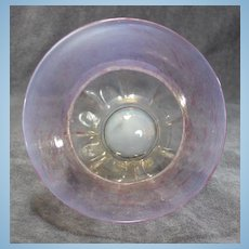 Early Venetian Pink Iridescent Art Glass Footed Bowl