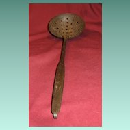 Early Metal Ladle Skimmer with Hooked Handle