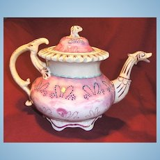 Unusual 19th Century Pink Lustre or Luster Footed Teapot with Dragon Spout