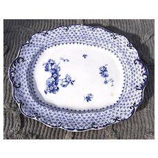 19th Century Ridgways Theodore Blue Transferware Platter