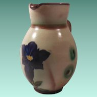Exceptional Anton Lang Art Pottery Floral Decorated Creamer or Pitcher