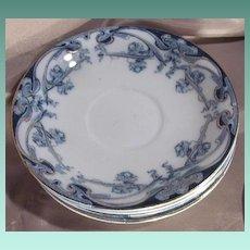 Royal Staffordshire Pottery Flow Blue Iris Pattern Saucer