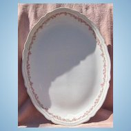 "Vienna Austria Porcelain Pink and White Flowers 18"" Oval Serving Platter"