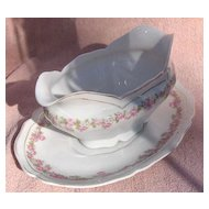Vienna Austria Porcelain Pink and White Flowers Oval Covered Open Gravy Boat with Underplate
