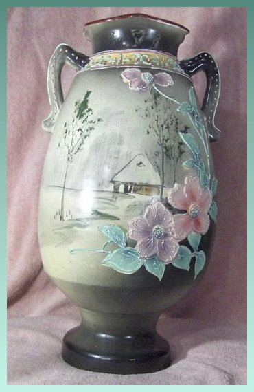 Hand Painted Nippon Green Mark Eco Moriage Vase Penny Candy Antiques Ruby Lane