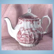 Churchill Teapot The Brook Pattern in Pink