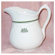 White Ironstone Pitcher with Pennsylvania State Emblem and Motto