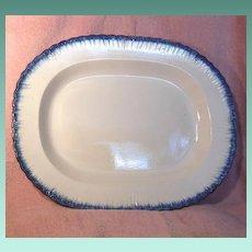 1800's Rectangular Blue Feather Edge Platter