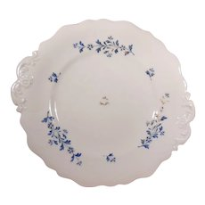 19th Century English Sprig Ware Embossed Double Handled Cake Plate Blue Flowers