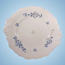 19th Century English Sprig Embossed Double Handled Cake Plate Blue Flowers