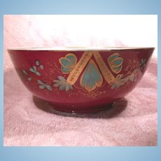 Hand Painted Footed Russian Raspberry Colored Porcelain Bowl Circa Mid 1800's