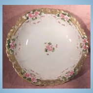 Large Hand Painted Nippon Green Mark Gold and Floral Bowl