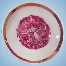 19th Century Pink Luster Shallow Bowl or Saucer Young Woman in Garden