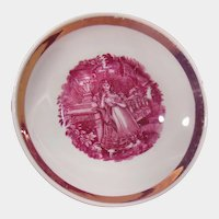 19th Century Pink Lustre Luster Shallow Bowl or Saucer Young Woman in Garden