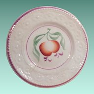 Early 19th Century Pink Luster Shallow Bowl or Saucer Flowers