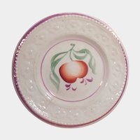 Early 19th Century Pink Lustre Luster Shallow Bowl or Saucer Flowers
